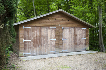 Two door wooden garage