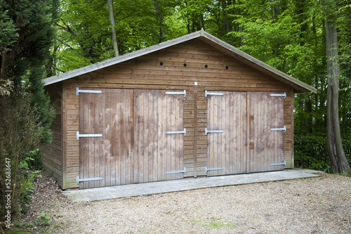 Two door wooden garage