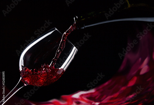 bottle and glass with red wine - 52683895