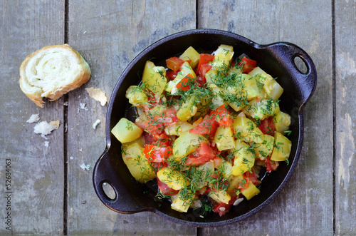 Homemade zucchini and tomato ragout
