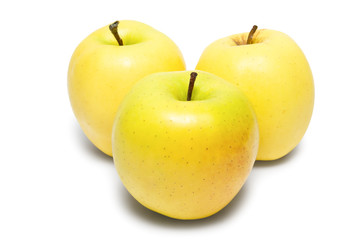 Three yellow apples