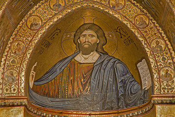 Palermo - Christ from main apse of Monreale cathedral.
