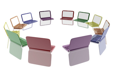 Multiple laptops in different colors forming a circle