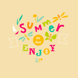 Summer typographic illustration with hand-drawn letters poster