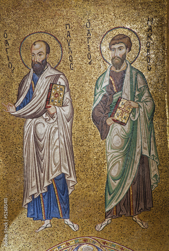 Palermo - Mosaic of apostle Paul and Jacob from La Martoran