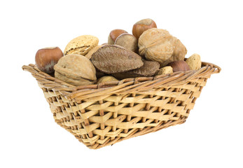 Nuts in wicker basket