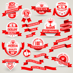 Premium set of labels and ribbons