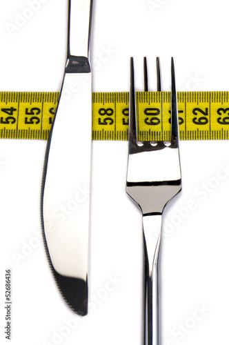 Fork and knife with measuring tape