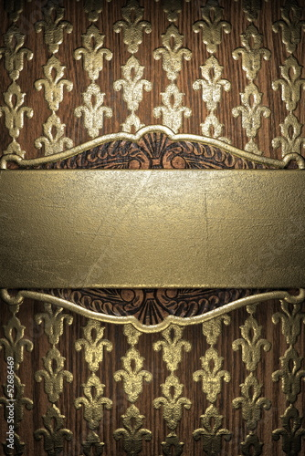 gold on wood background