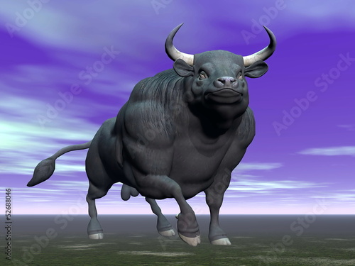 Bull in the dark - 3D render