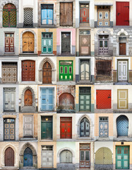 Clip-Art with big set of colorful wooden doors in Tallinn