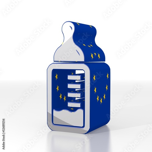 3d render of a isolated two hearts icon  with eu flag pattern