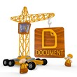 Illustration of a tiny document icon with a crane