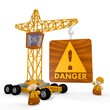 Illustration of a dangerous Danger symbol with a crane