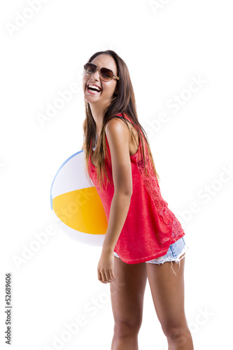 Woman with a beach ball