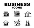 Black glossy business icon set