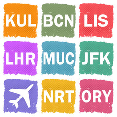 Grunge illustration of airport codes