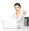 Woman and laptop with thumbs up sign