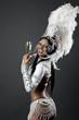 Brazilian Samba Dancer holding champagne glas