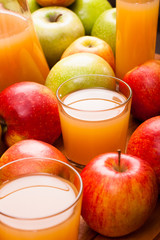Some glasses of apple juice
