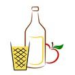 Apfelwein mit Flasche