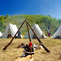 reconstructed french war camp