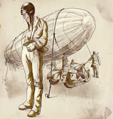Airship Pilot - Hand drawing converted into vector
