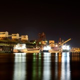 cargo port by night. Ventspils terminal, Latvia
