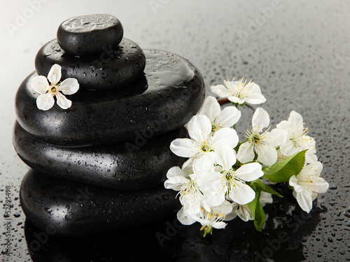 Spa stones and white flowers on dark background - 52695498