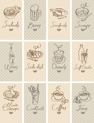 set of business cards with different dishes
