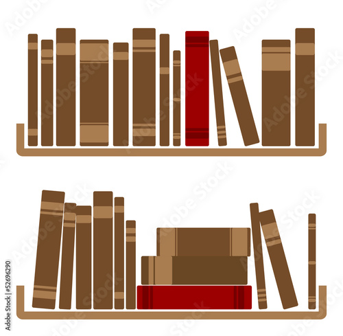 Different red Books On shelf