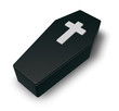 black casket whit christian cross - 3d illustration