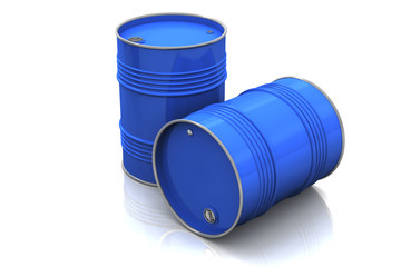 Blue metal barrels