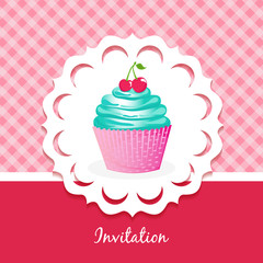 Vector card with cake and cherries