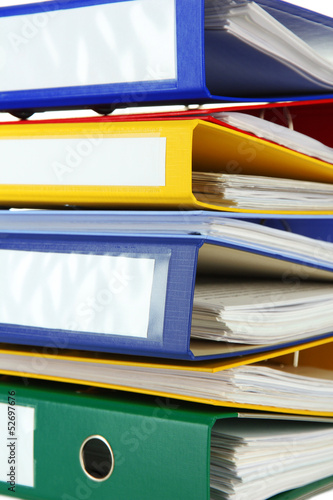 Bright office folders, close up