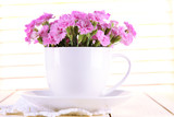 Many small pink cloves in cup on wooden background
