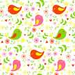 seamless pattern birds and flowers