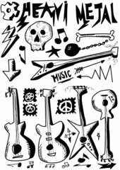Doodle music, heavy metal, hand drawn guitars