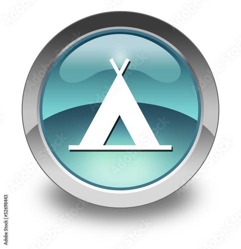"Light Blue Glossy Pictogram ""Camping Symbol"""