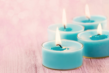 Blue burning candles