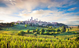 Fototapety Scenic landscape with San Gimignano at sunset, Tuscany, Italy
