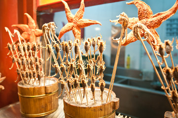 fried scorpions on Wangfujing Snack Street, Beijing, China