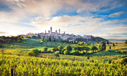 Scenic landscape with San Gimignano at sunset, Tuscany, Italy