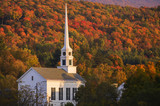 Fall foliage behind a rural Vermont church