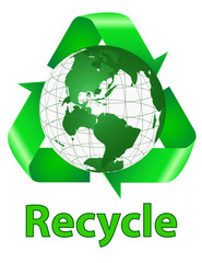 Recycle Symbol And Earth With Word