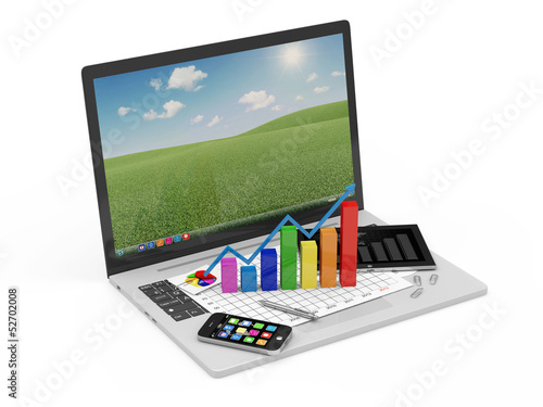 Laptop with Business Graph, Tablet PC and Smartphone