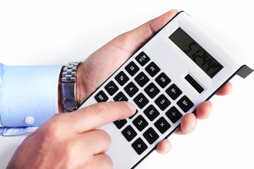 Hand with a calculator.