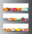 Flowers banners with place for text