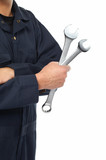 Hand of auto mechanic with wrench.