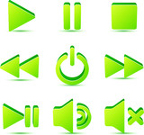 Green vector plastic navigation symbols set